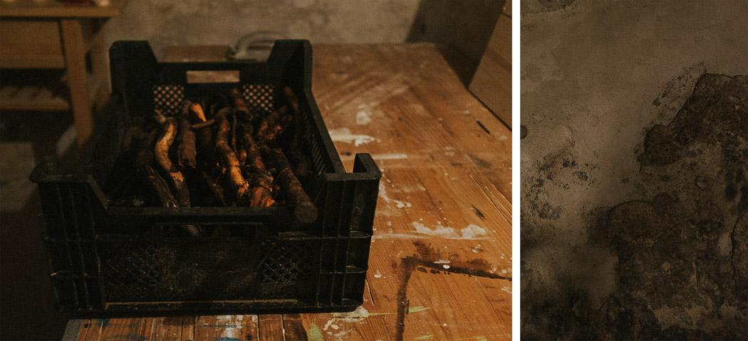gerwaschenes Wurzelholz in einer Kiste Kellerwand